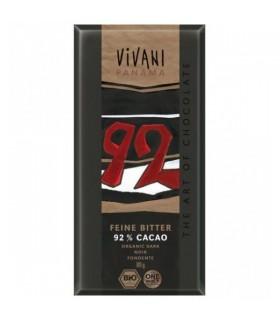tableta chocolate negro 92% eco con azúcar de coco-80 g (VIVANI)