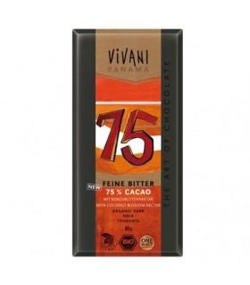 tableta chocolate negro 75% eco con azúcar de coco-80 g (VIVANI)