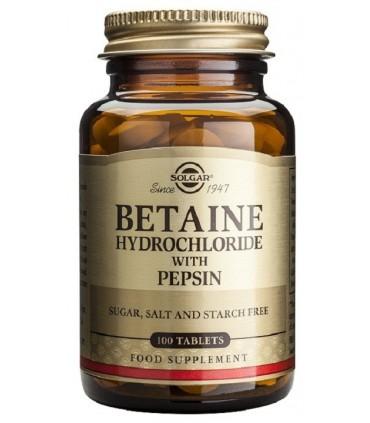 Betaína clorhidrato con pepsina-100 comprimidos (SOLGAR)