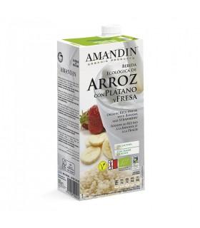Bebida de arroz con Plátano y Fresa eco-1l (AMANDIN)