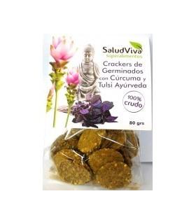 Crackers de germinados cúrcuma y albahaca Tulsi Ayurveda 80gr.  (SALUD VIVA ECO)